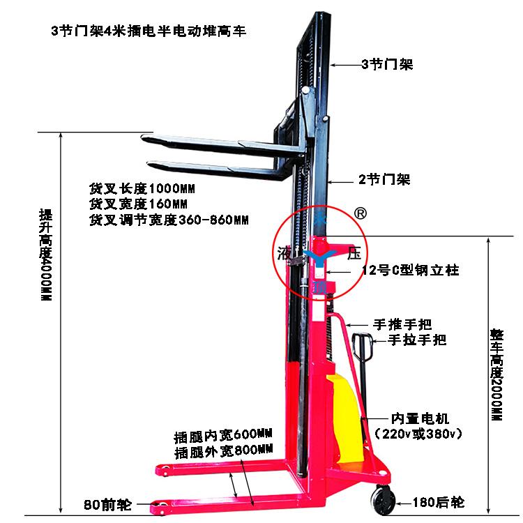 C型钢1吨提升4米3门架插电式220V/380V半电动堆高叉车