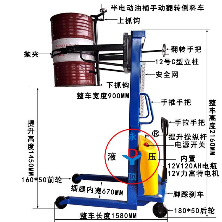 300公斤1.5米半电动油桶手动翻转倒料叉车